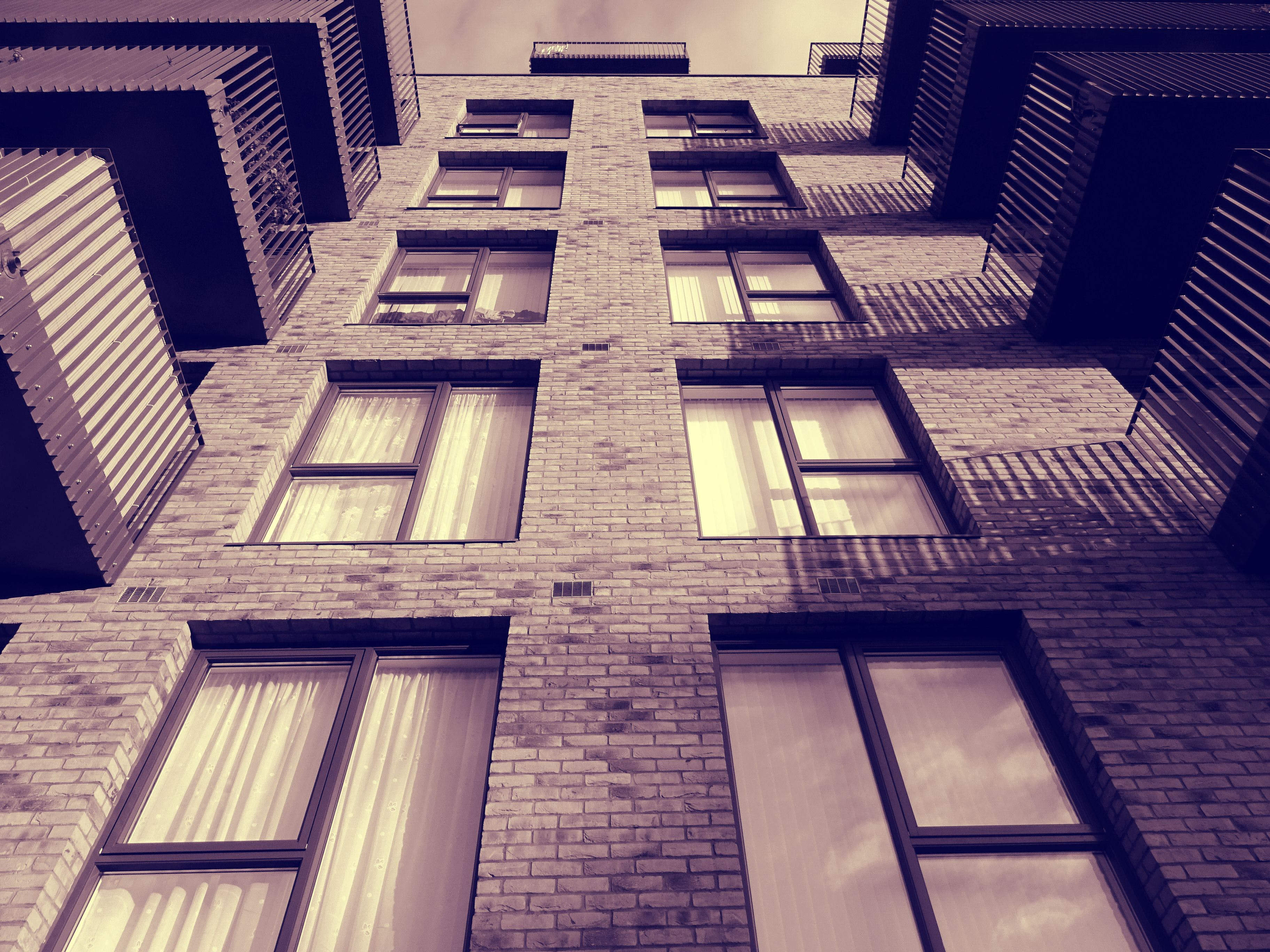건축, 로우앵글 샷, 벽, 벽돌 벽의 무료 스톡 사진
