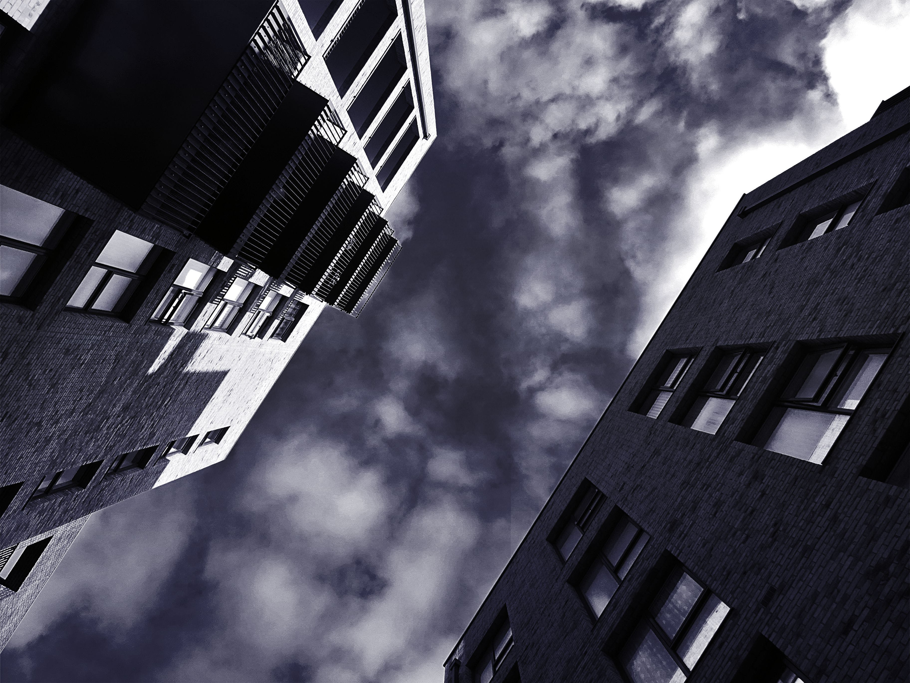 architecture, balconies, black and white