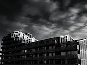black-and-white, sky, clouds