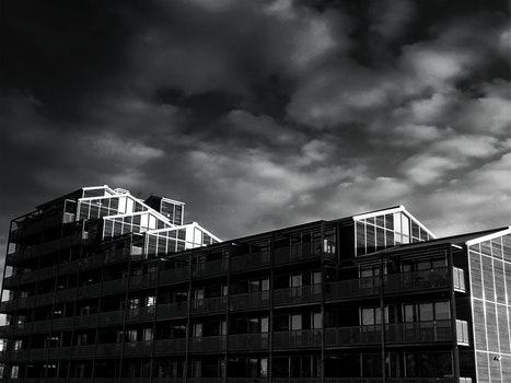 Free stock photo of black-and-white, sky, clouds, glass