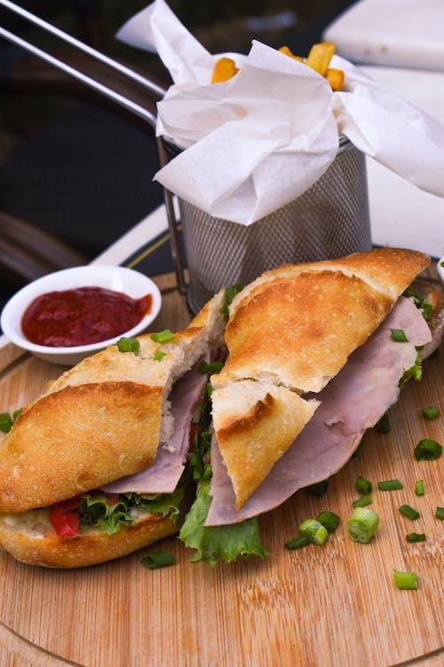 三明治, 垂直, 木托盤 的 免費圖庫相片