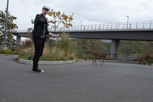Man in Black Leather Jacket and Brown Pants Walking With Brown Short Coated Dog on Gray