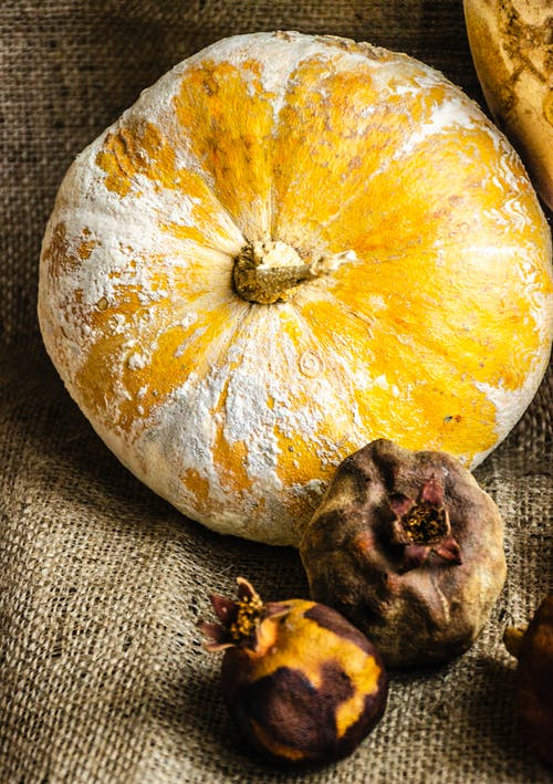Big yellow pumpkin with white stain placed on fabric with colorful pomegranates in rural terrain in countryside during harvest season