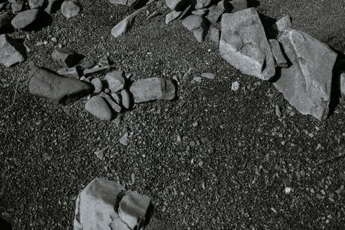 Stones and pebbles on ground