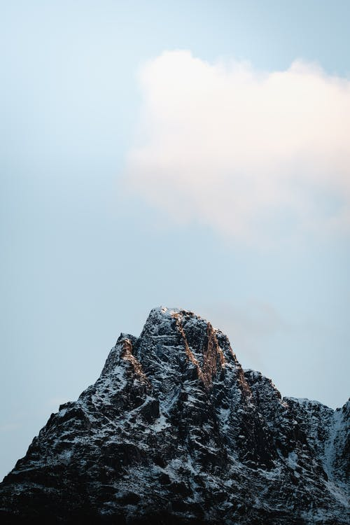 Snowy mountain peak against blue sky