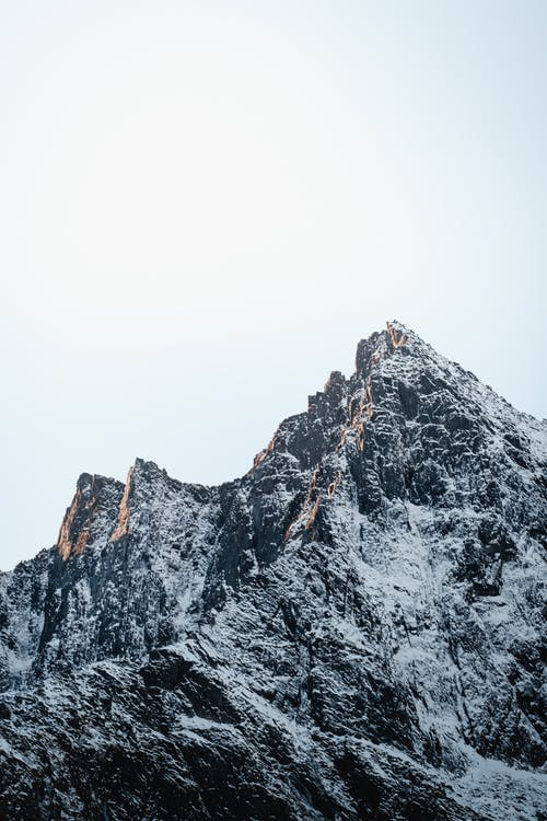 Alpine snowy mountain ridge in winter