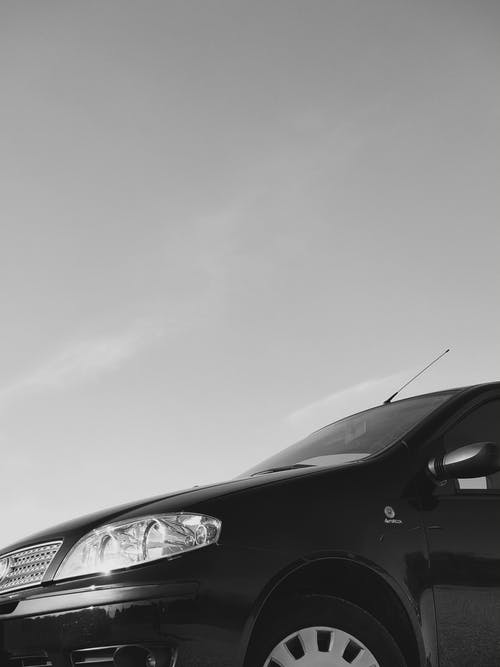 Free stock photo of ash sky, black & white, black car