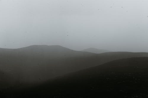 Mountainous area in misty weather