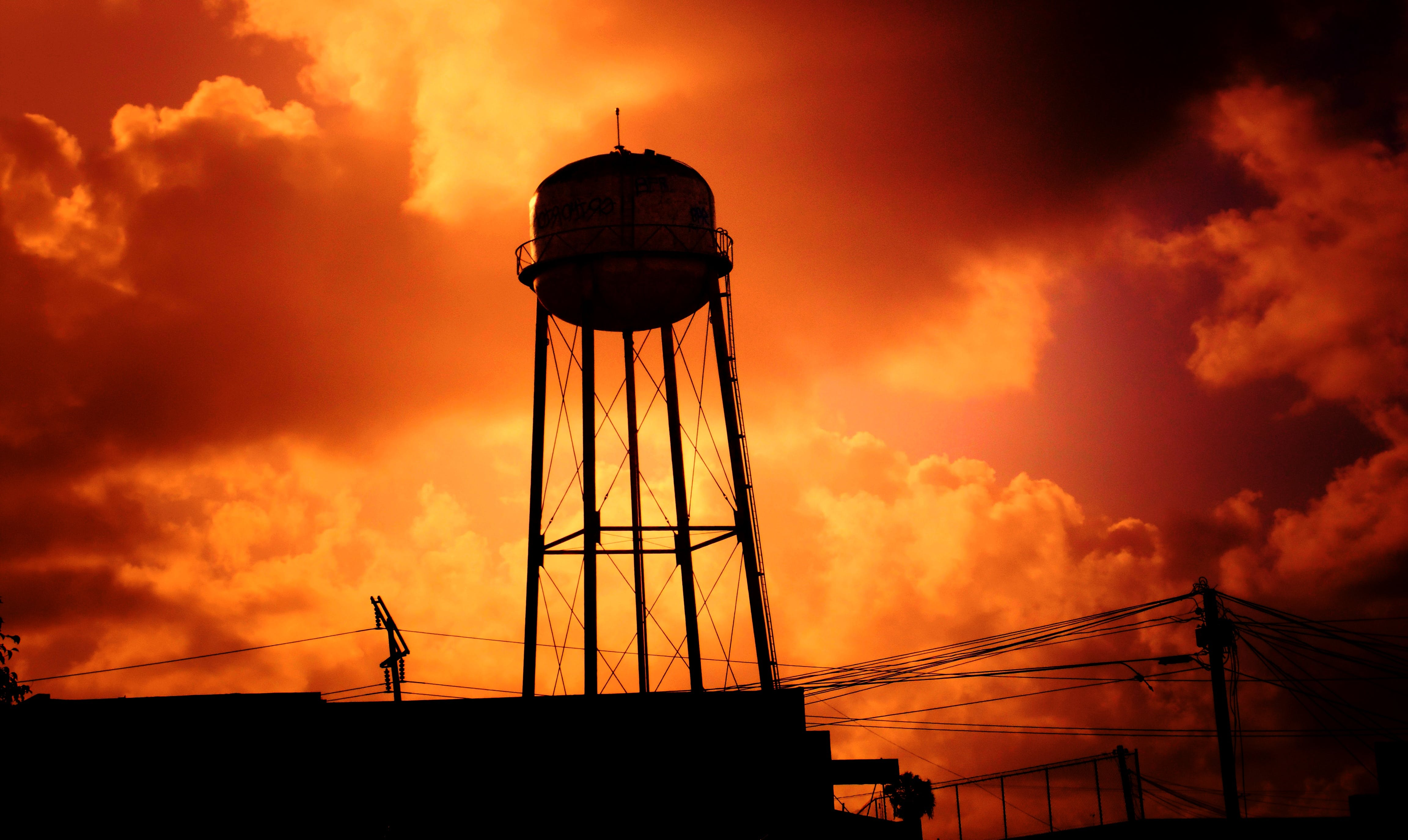 Silhouette of Water Tank