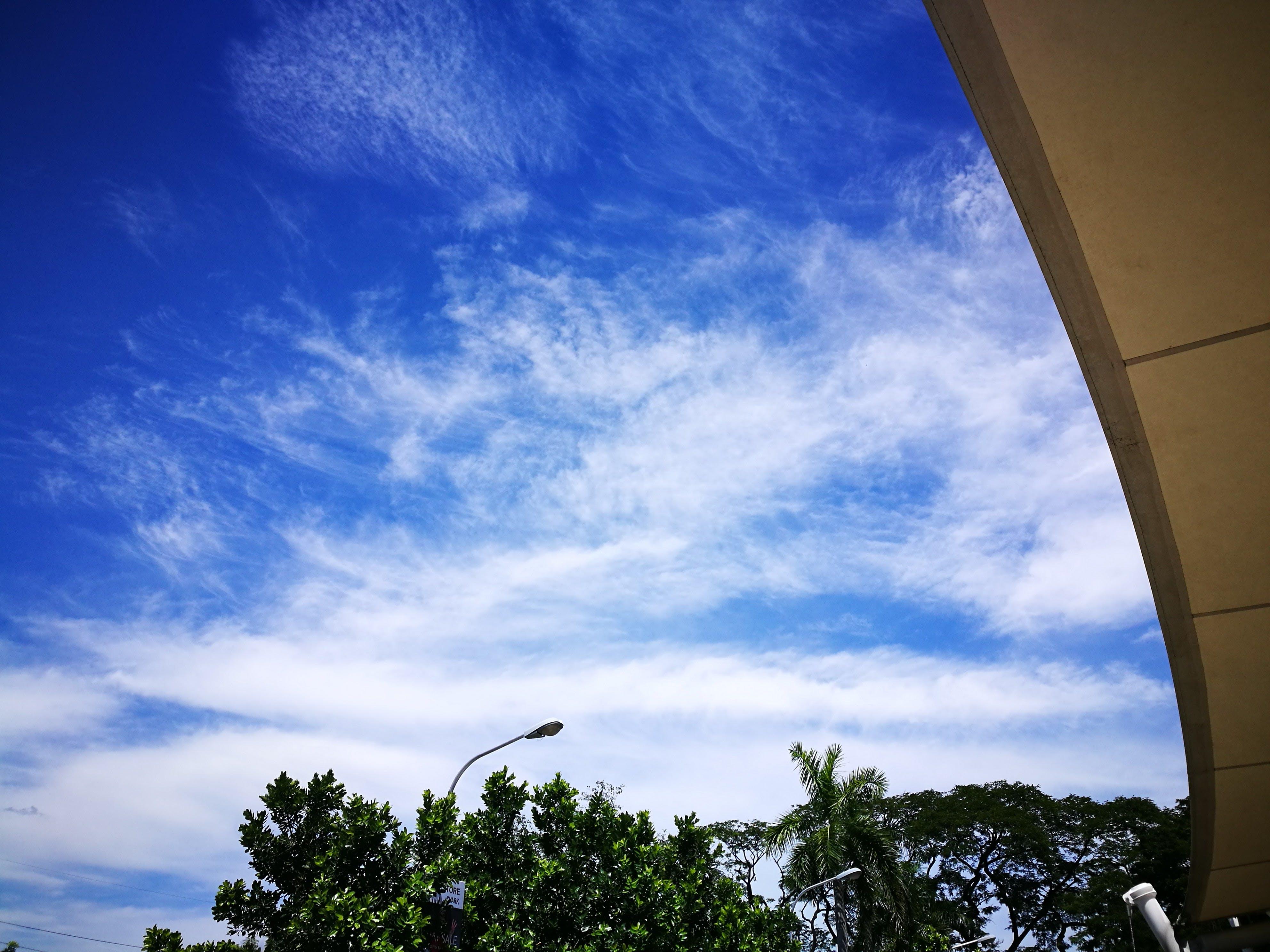 blue sky, ceiling, clouds