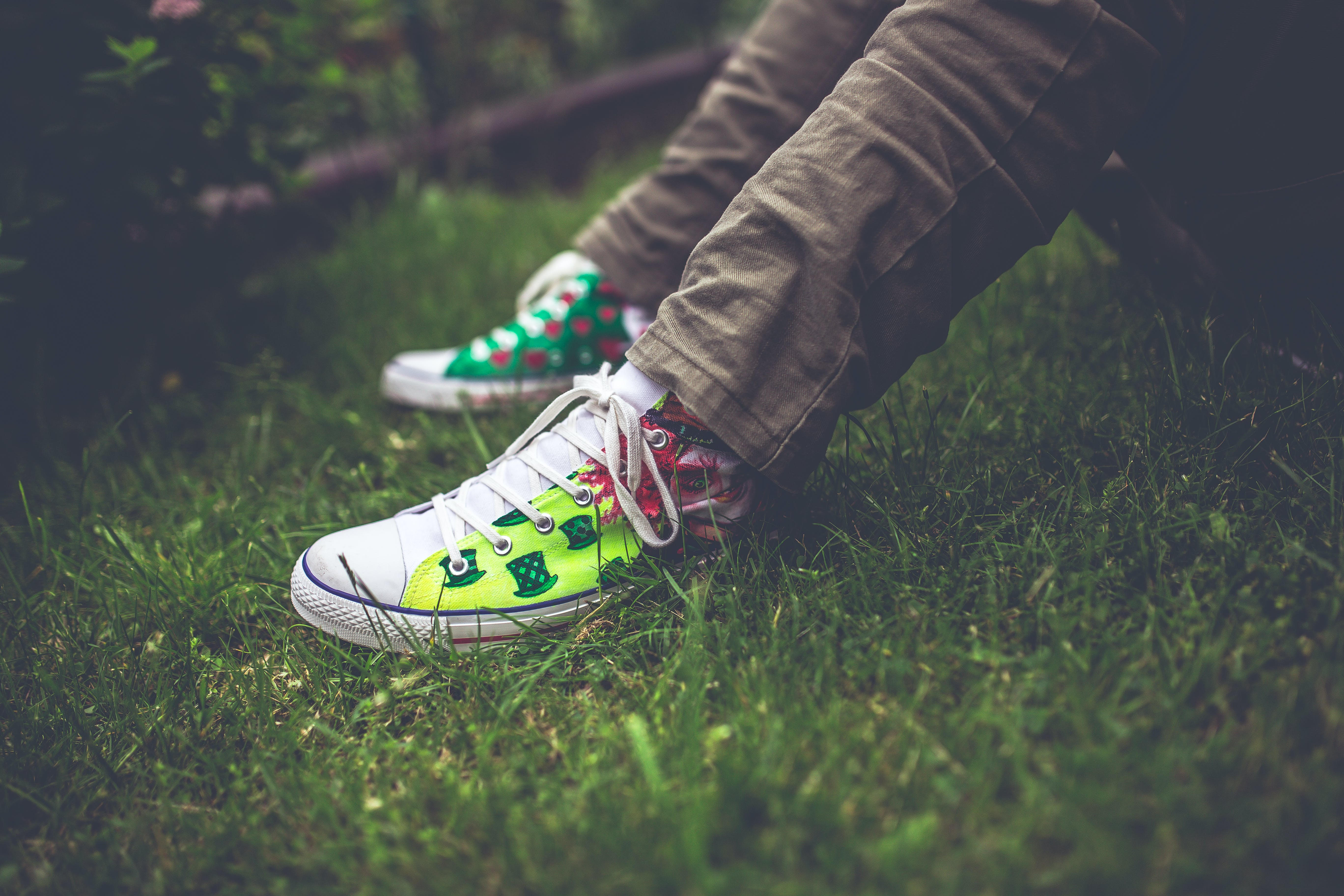 Free stock photo of garden, sitting, grass, shoes