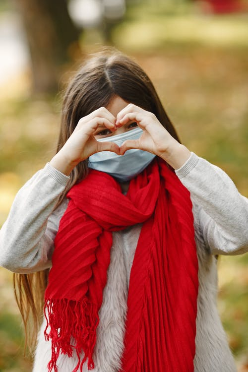 Girl In Gray Long Sleeve Shirt And Red Scarf