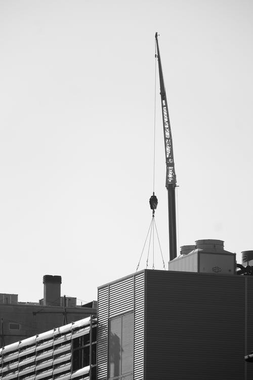 Free stock photo of analog photography, black and-white-film, black-and-white, building site