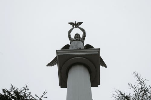 Black and white from below of stone sculpture of angel with bird in hands placed on column