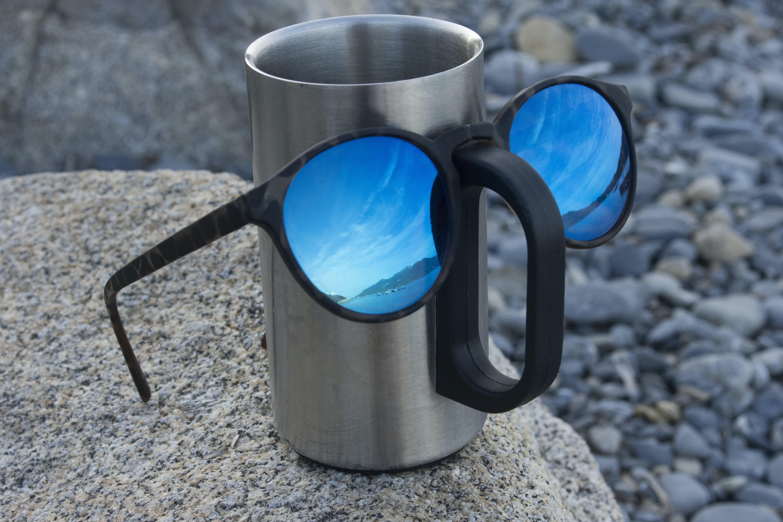 Free stock photo of blue glasses, blue sky, coffee mug, eye glasses