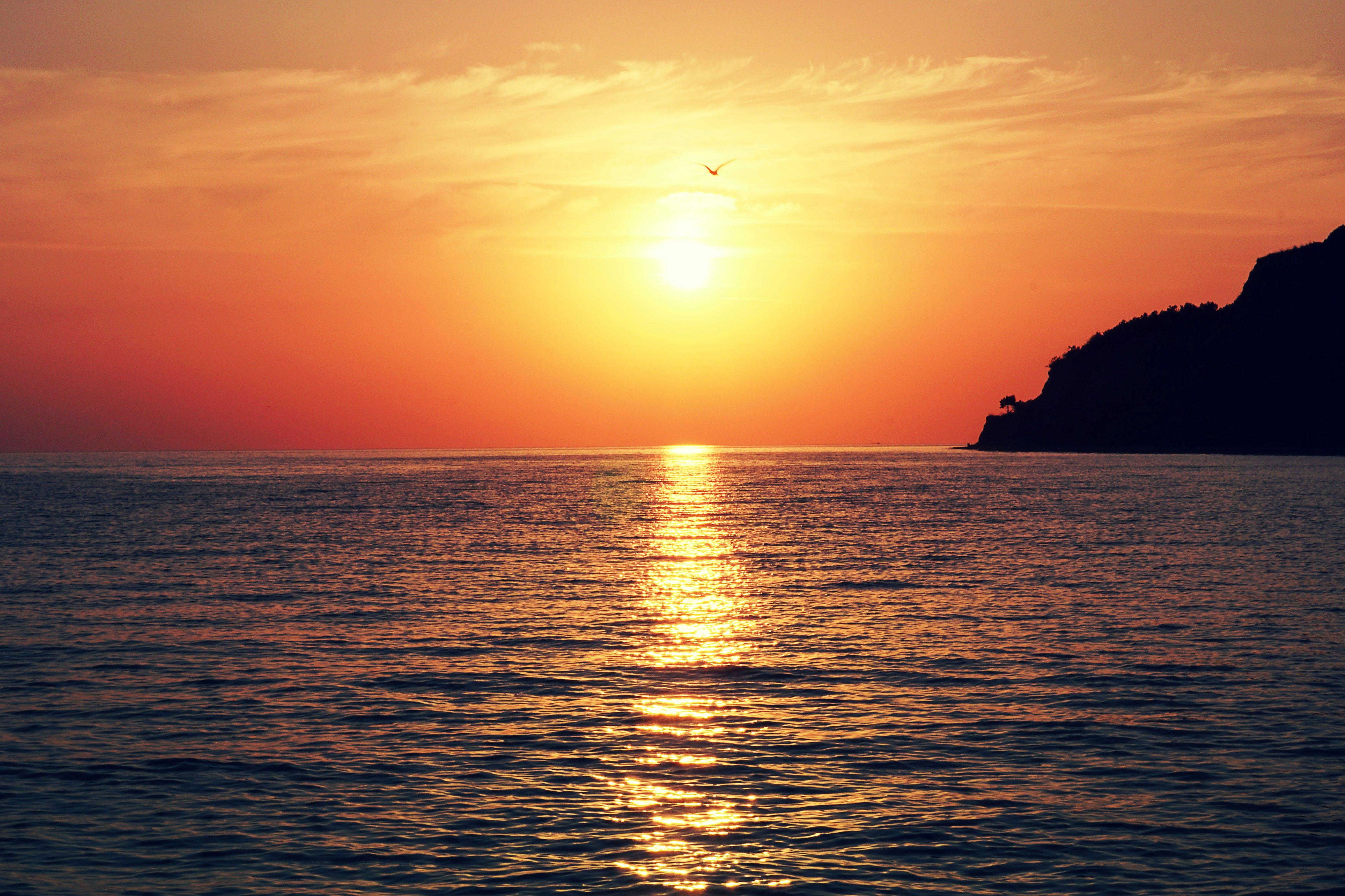 afterglow, backlit, beach