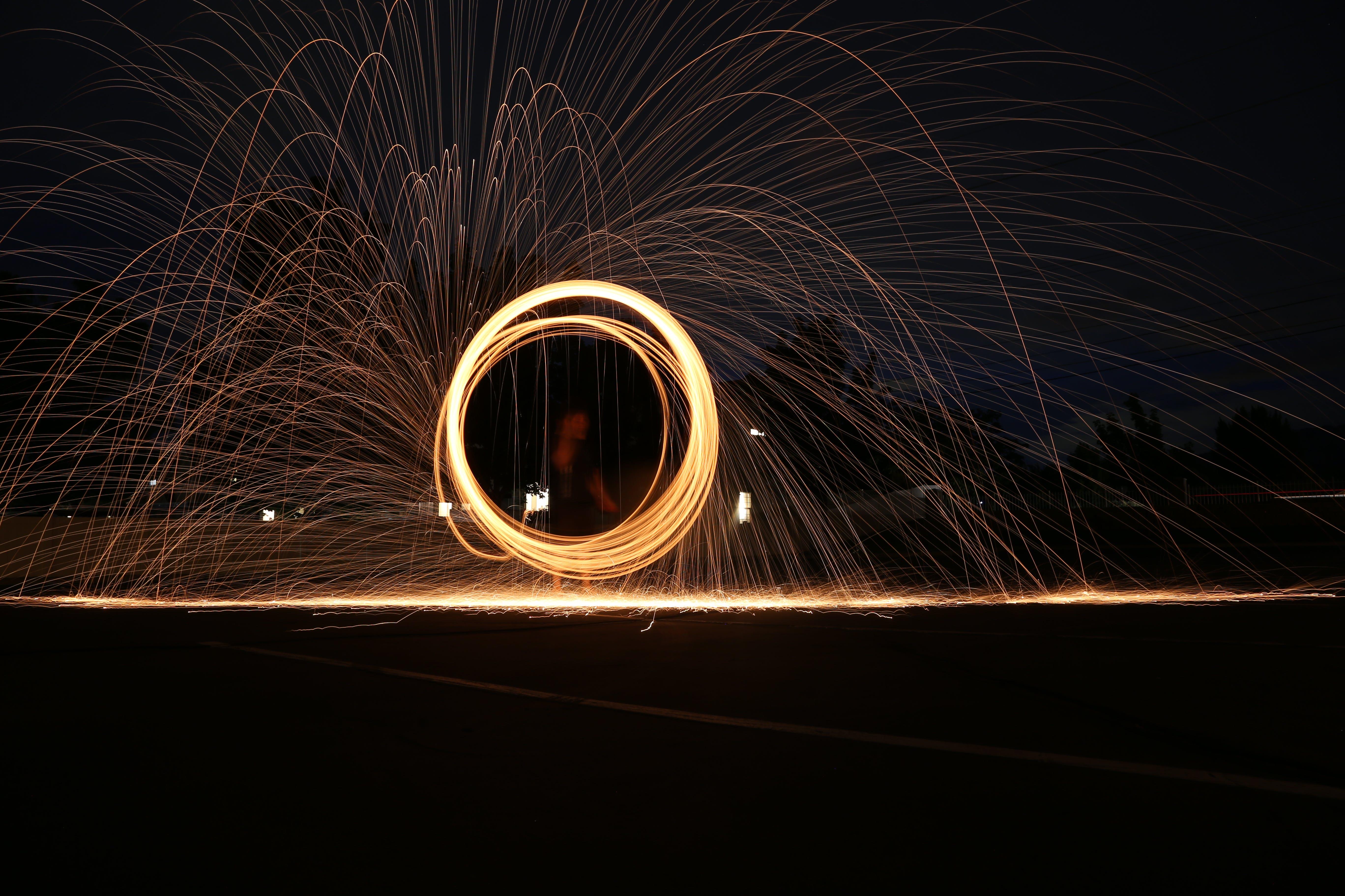 Free stock photo of light, night, painting, fire
