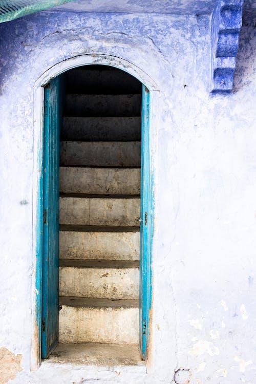 azul, degraus, entrada