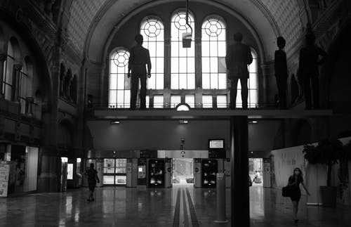 Free stock photo of black & white, station hall