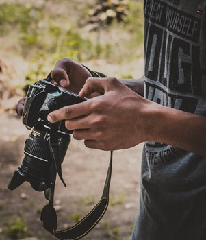 Free stock photo of man, person, hands, camera