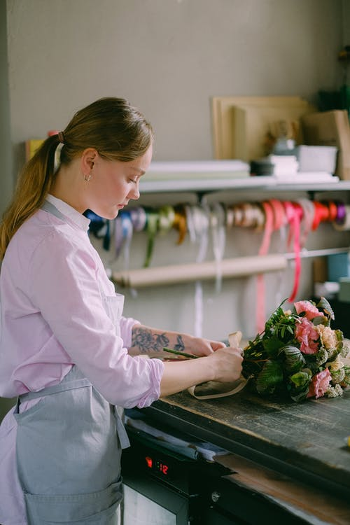 A Florist Arranging Flowers