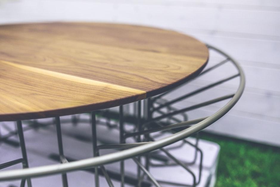 Wood and metal table