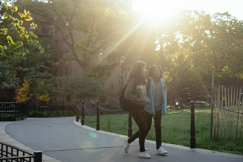 Multiracial schoolgirls walking in park during sunny day