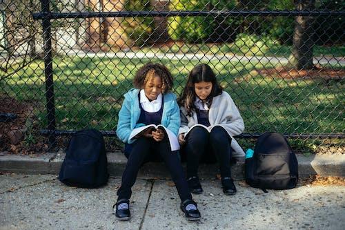 Positieve Diverse Schoolmeisjes Die Onderwerp In Leerboek In Herfstpark Lezen