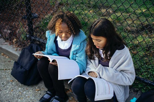 From above concentrated multiracial girls classmates reading article in textbooks while sitting together on ground near net fence in autumn park
