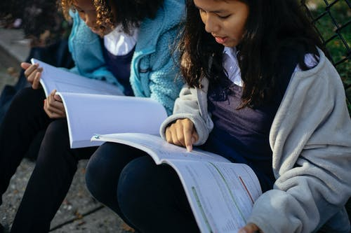 Crop concentrated schoolgirls reading textbook in park
