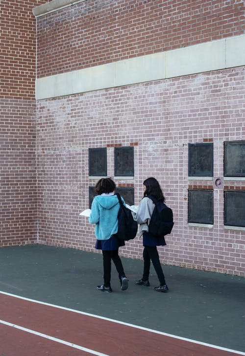 Back view of anonymous children walking and talking about lessons near brick building of school