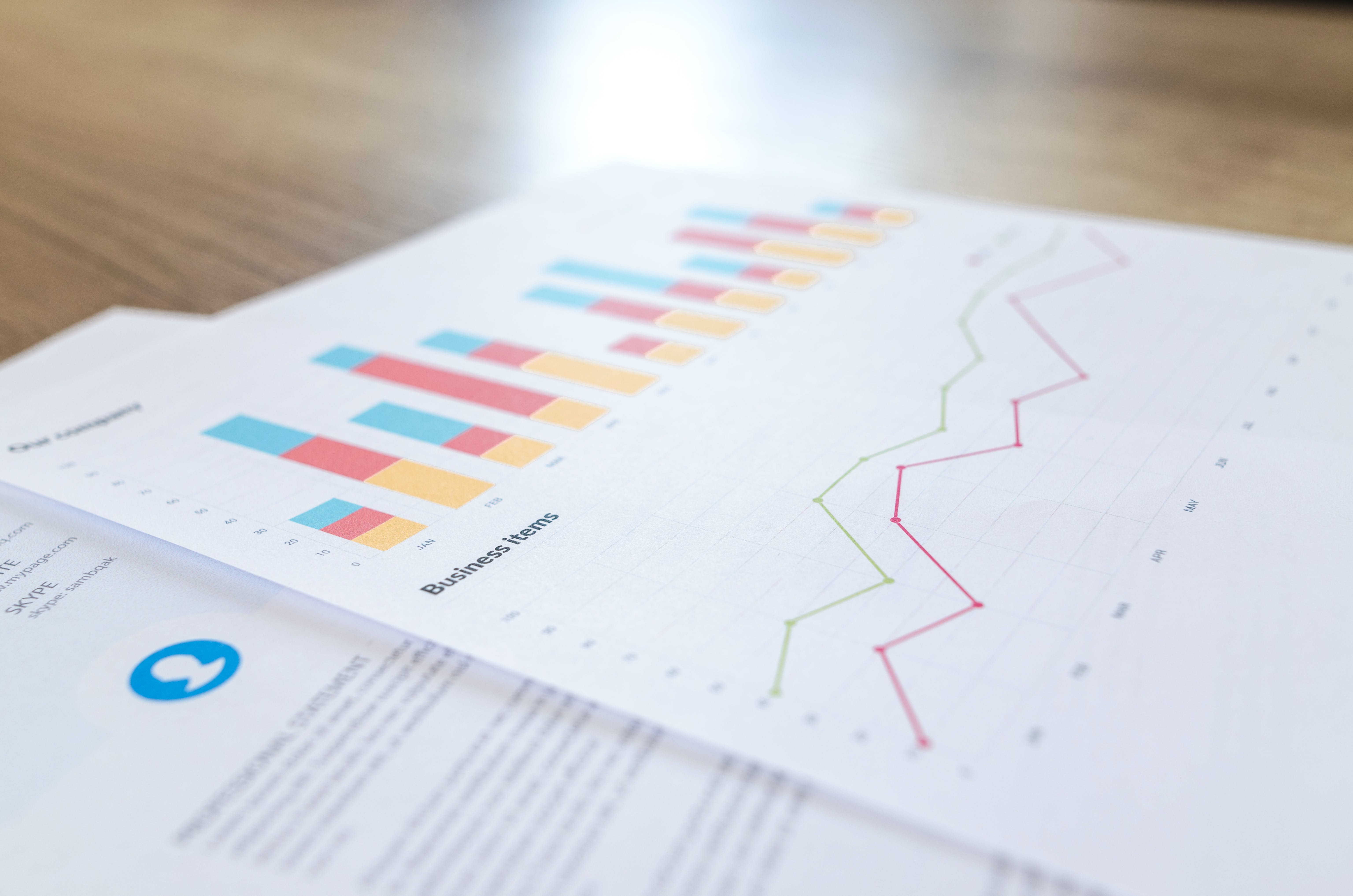 Graph and Line Chart Printed Paper