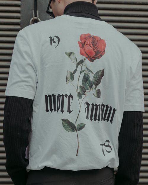 White and Red Rose Printed Crew Neck T-shirt