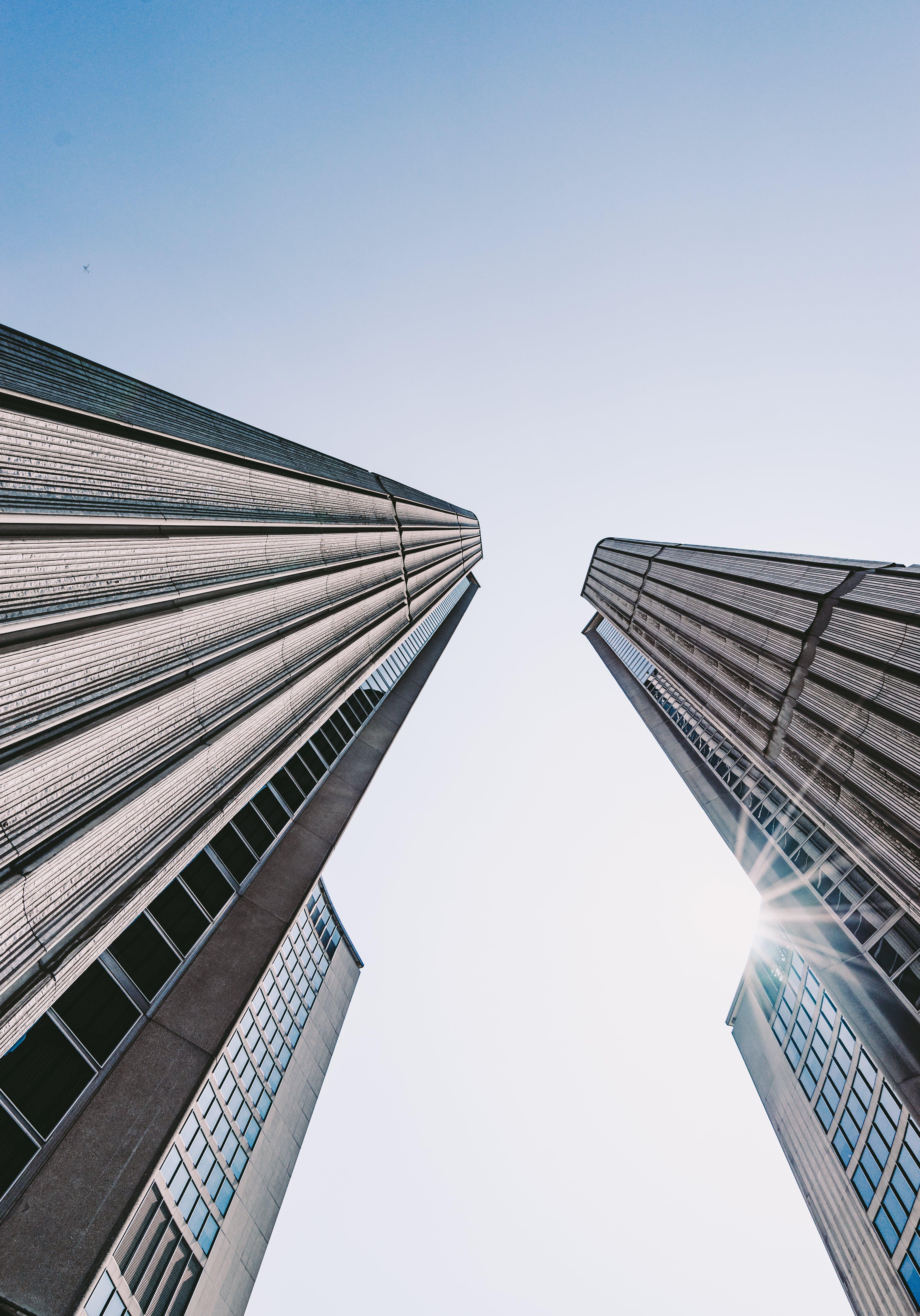 Two Gray Concrete Buildings