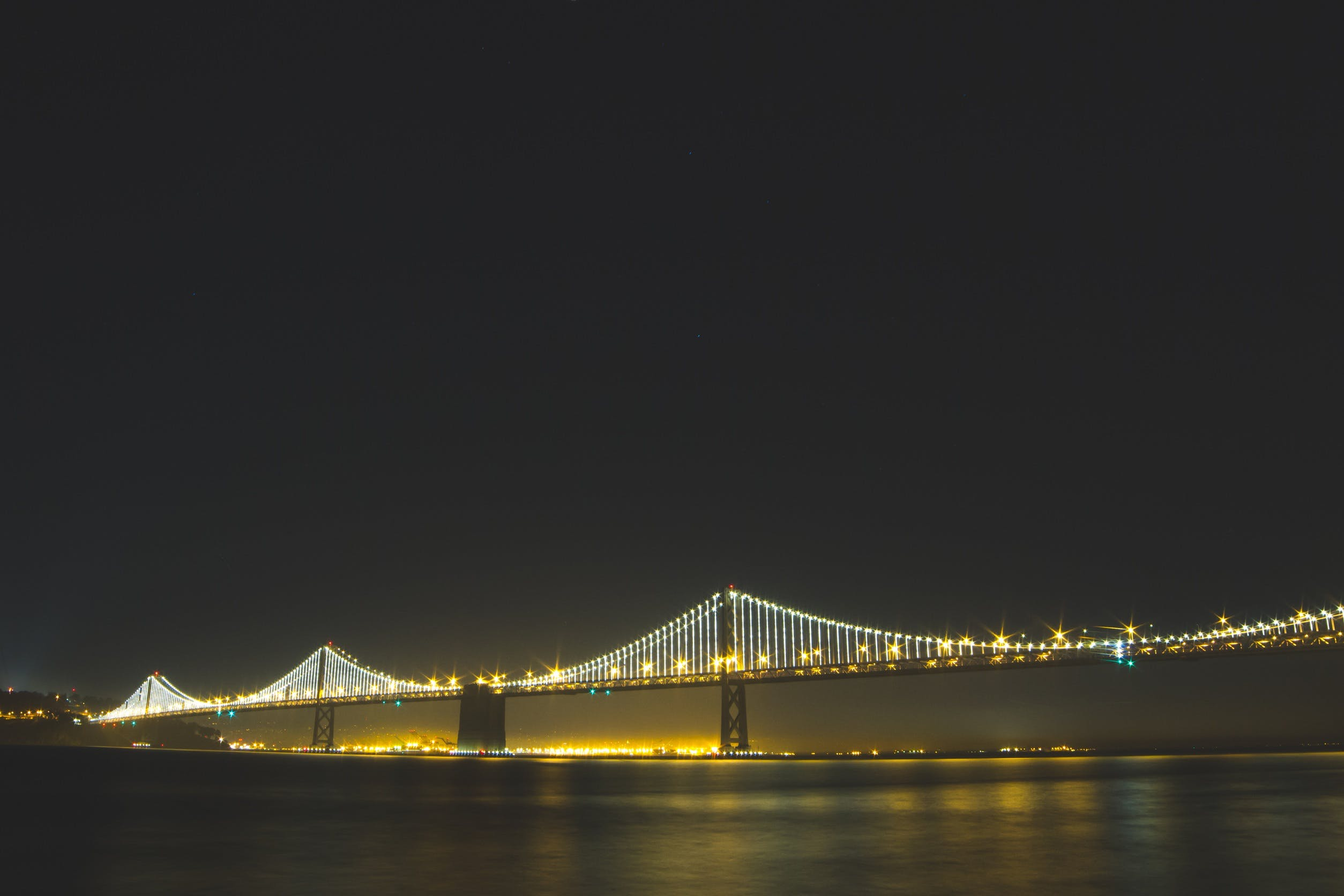Lighted Bridge at Nighttime