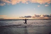 sea, sunset, man