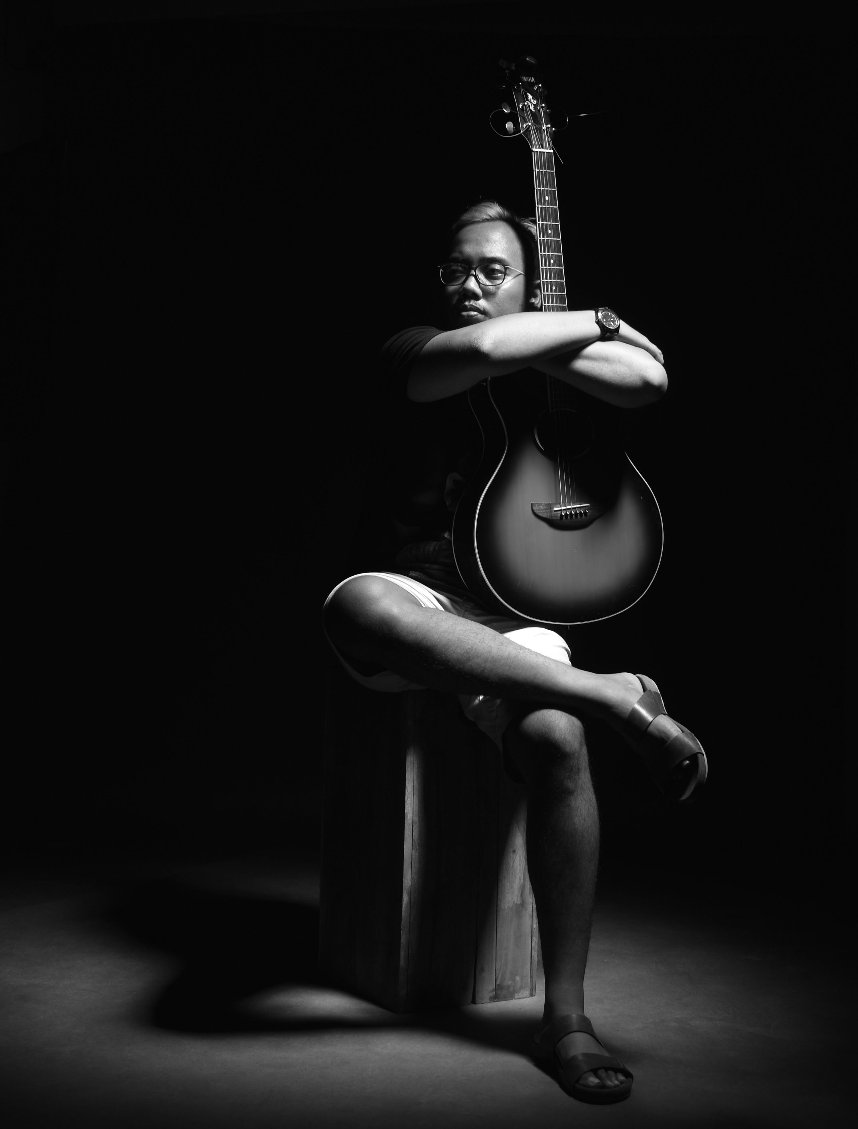 Free stock photo of black-and-white, person, dark, musical instrument