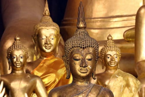 Gold Buddha Statue in Gold and Silver