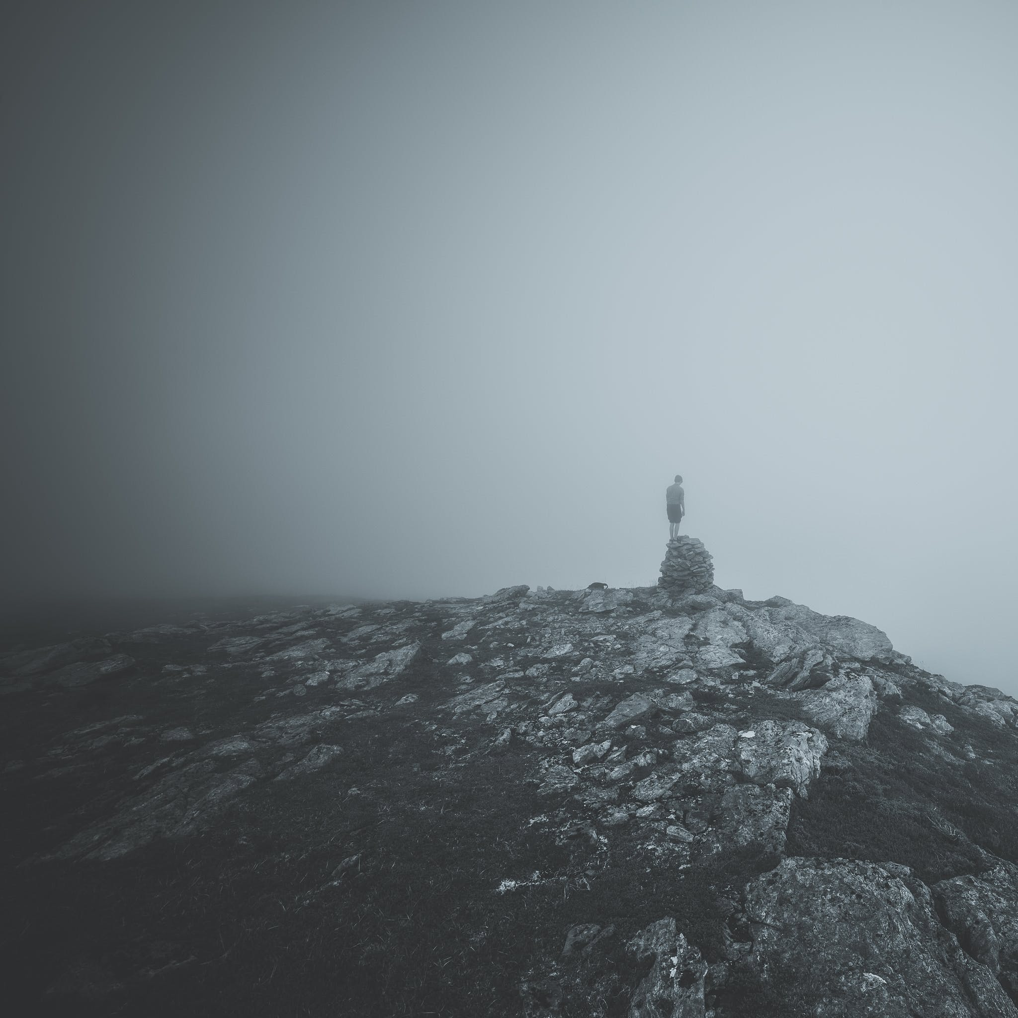 Free stock photo of black and white, fog, foggy, mountain
