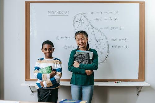Smart little multiracial schoolchildren doing presentation during biology class