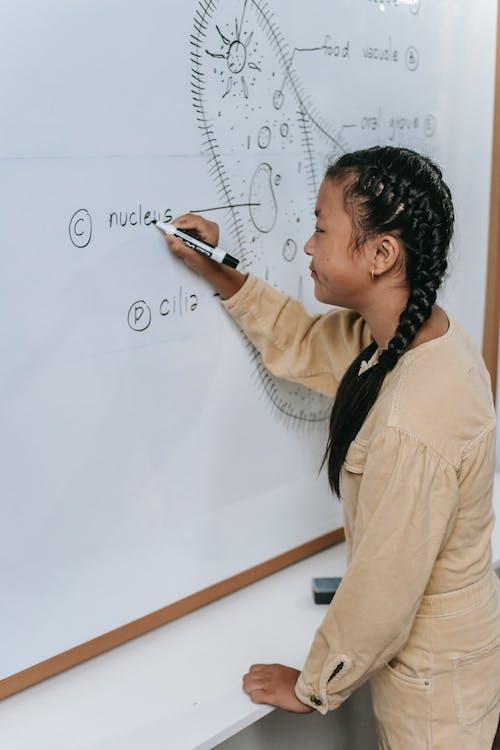 Serious Asian teen writing on whiteboard