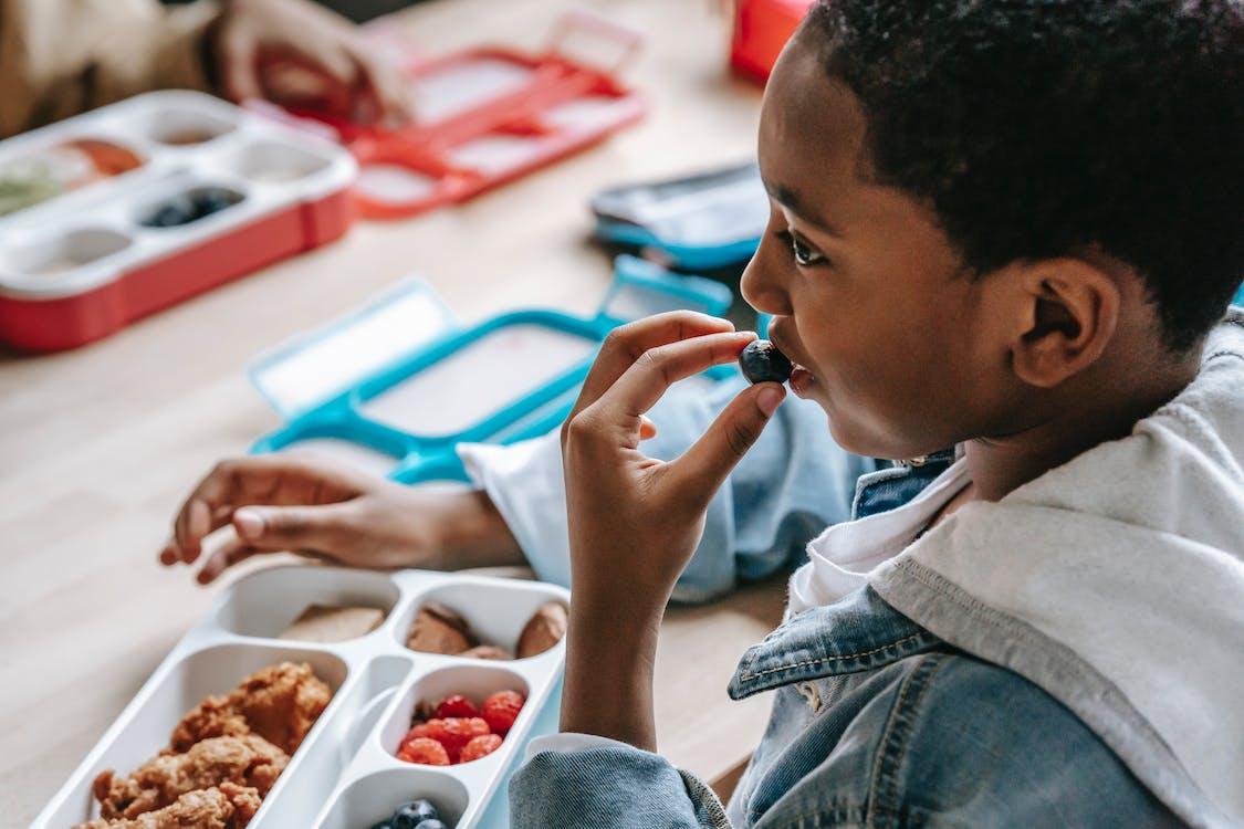 学校でブルーベリーを食べる黒人少年を収穫する