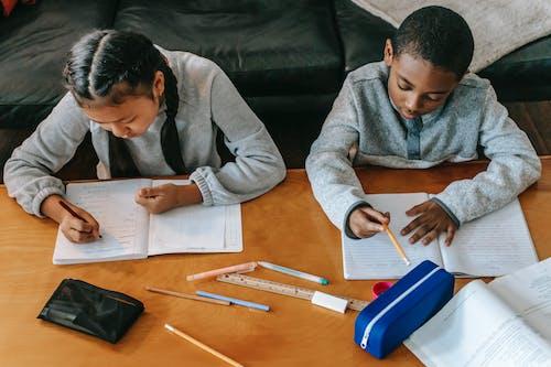 Konzentrierte Kinder, Die Hausaufgaben Am Tisch Machen