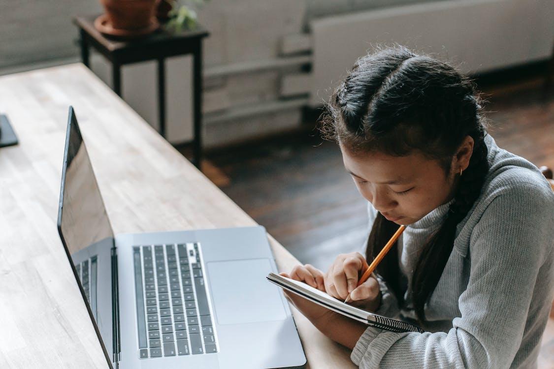 Ethnisches Mädchen Mit Laptop Und Notizblock