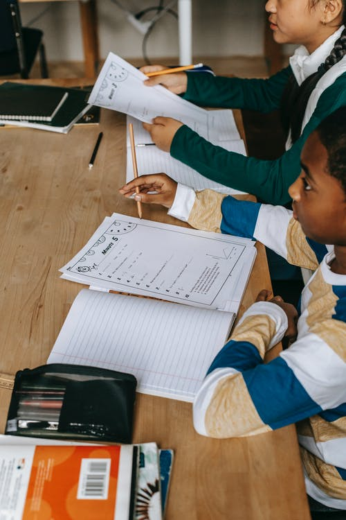 Side view of multiethnic smart boy and girl with notepads at wooden desk in classroom