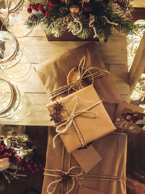 Brown Gift Box on Table