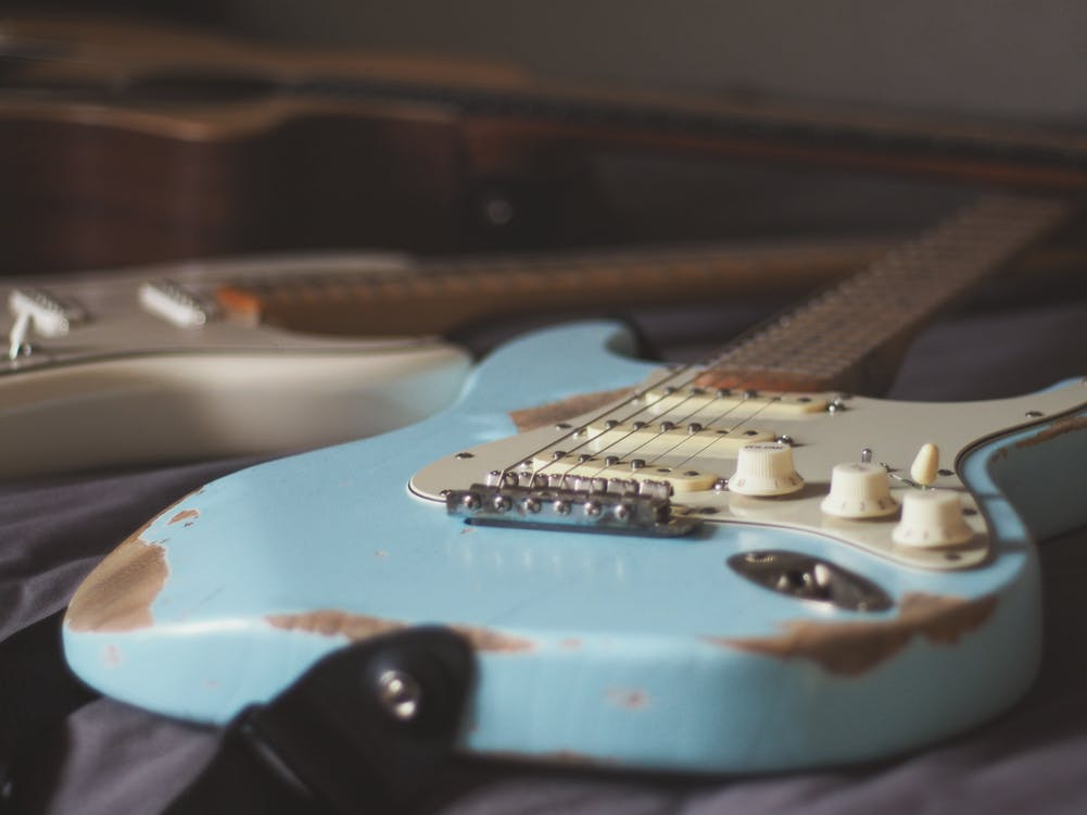 Free stock photo of amp, blue, electric guitar