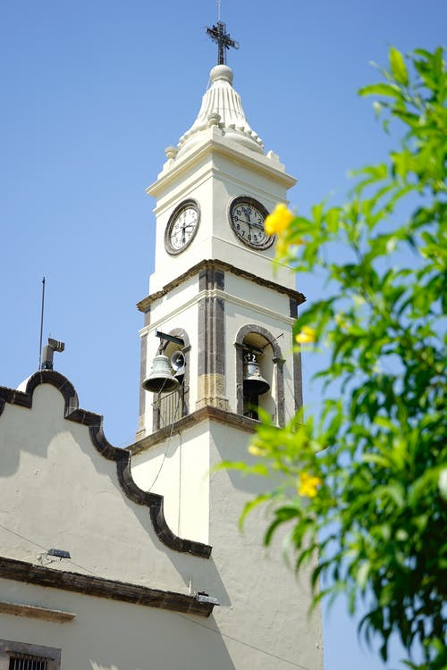 Low Angle Shot of Church Clock Tower