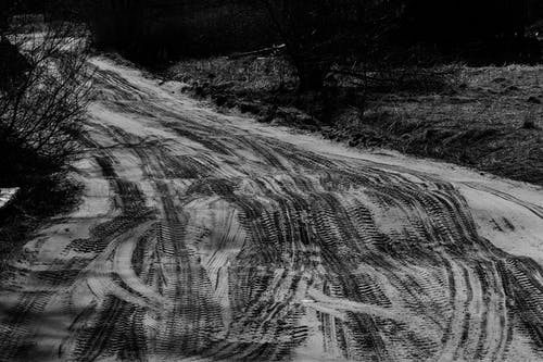 Black and white of narrow roadway with curved traces near dry shrub in daytime
