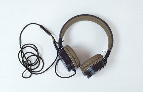 Black and Brown Corded Headphones